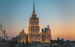Картинка москва, city, город, lights, sunset, огни, украина, ночь, night, Hotel, summer, Ukraine, редисон, мгу, skyscraper, …