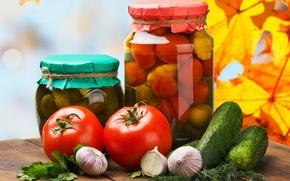 Картинка зелень, осень, листья, стол, укроп, банки, прожилки, помидоры, чеснок, разносолы, огурчики
