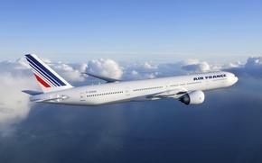 Картинка Небо, Облака, Полёт, sky, Боинг, flight, clouds, Пассажирский, Air France, Boeing 777, Passenger, 300ER