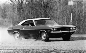 Картинка машина, авто, фото, фон, обои, чёрно-белое, Dodge, Challenger