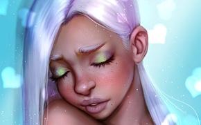 Картинка грусть, девушка, лицо, красота, арт, белые волосы