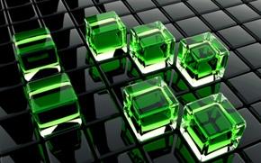 Обои кубики, стекло, зеленый