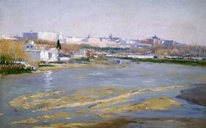 Картинка пейзаж, город, река, картина, Испания, Мадрид, Aureliano de Beruete y Moret, Река Мансанарес