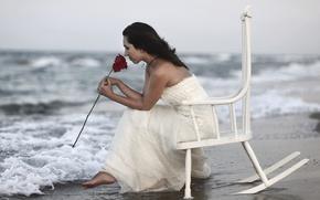 Картинка море, девушка, роза, кресло