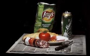 Обои еда, пиво, нож, натюрморт, помидор