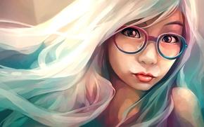 Картинка девушка, лицо, арт, очки