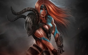 Картинка девушка, арт, рыжая, раскраска, мускулы, Diablo III, варвар, Barbarian, Reaper of Souls
