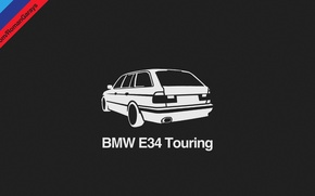 Картинка BMW, Dark, Helvetica, Car, Design, Black, Wallpaper, E34, Gray, Touring, Minimalism, Graphics, Bavarian, Tricolor