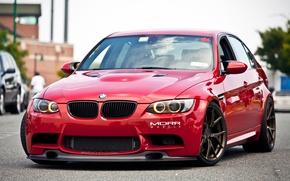 Картинка bmw, turbo, red, tuning, power, germany, e90, e46