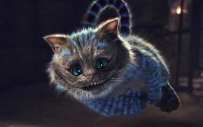 Картинка взгляд, полоски, улыбка, зубы, Чеширский кот, светятся