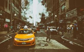 Обои yellow, Manhattan, NYC, New York City, Street, taxi, Midtown