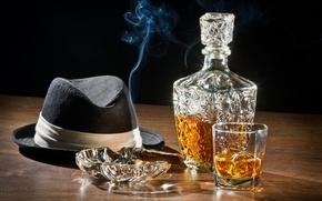 Картинка шляпа, сигара, виски