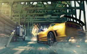 Обои бревна, мост, скорость, арт, авария, машины, опасность, Mustang, Ford