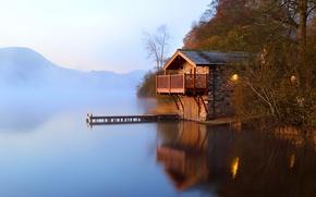 Обои осень, туман, озеро, рассвет, причал, сарай
