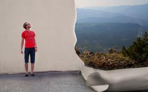 Обои стена, ситуация, реальность, парень