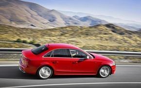 Картинка Audi, Красный, Авто, Дорога, Горы, Ауди, В Движении