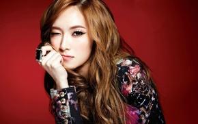Картинка девушка, красный, фон, рука, кольцо, girls generation, snsd, Jessica