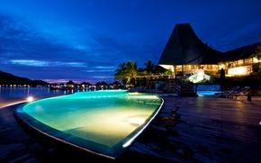 Картинка тропики, пальмы, океан, вечер, бассейн, курорт, бунгало