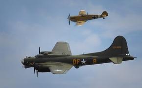 Картинка небо, полет, истребитель, бомбардировщик