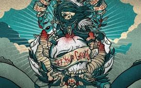Обои Punk, Рисунок, Смерть, Череп, Облака, Goals, Vector, Set, Линии, Your, Вектор