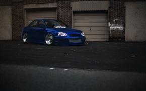 Обои тюнинг, Subaru, синяя, blue, wrx, impreza, субару, sti, импреза, stance