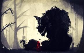 Картинка лес, волк, пасть, трупы, поганки, Красная шапочка