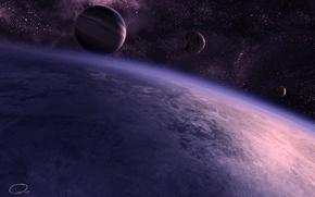 Картинка планеты, звезды, QAuZ, арт, спутник, космос, атмосфера