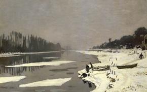 Обои Клод Моне, картина, Льдины на Сене в Буживале, пейзаж
