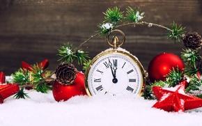 Картинка звезды, снег, часы, new year, snow, stars, merry christmas, clock, Новым годом, С Рождеством Христовым