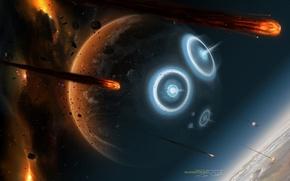 Обои Fireballs, Планеты, War, Удары, Звезды, Взрывы