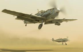 Картинка пустыня, истребители, desert, bf-109, afrika korps, emils