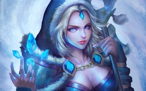 Картинка девушка, арт, кристаллы, Crystal Maiden, Dota 2, Rylai