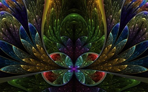 Картинка фракталы, бокал, лепестки, разноцветье, полуокружности, разводья