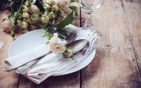 Картинка розы, тарелка, ложка, вилка, салфетка