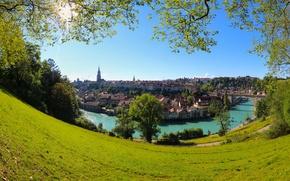 Картинка деревья, мост, река, здания, дома, Швейцария, панорама, Switzerland, Берн, Bern, река Аре, Aare River, Бруннадерн, …