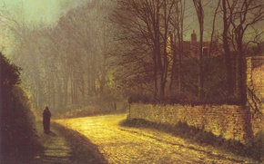 Картинка дорога, осень, картина, фигура