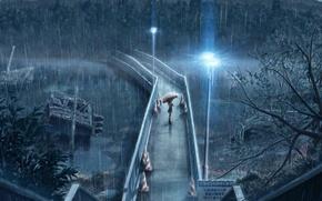 Картинка девушка, мост, зонтик, дождь, фонари, ожидание, Rainy day, проливной