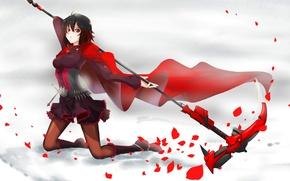 Картинка девушка, оружие, аниме, лепестки, арт, коса, плащ, rwby, ruby rose, sushu
