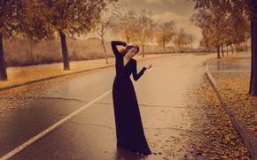 Картинка осень, девушка, поза, улица, платье