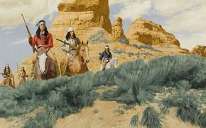 Картинка рисунок, кони, ружья, индейцы, всадники