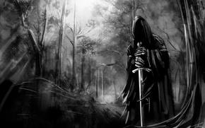 Обои forest, назгул, nazgul, природа, tree, темные обои, меч, ghost, лес