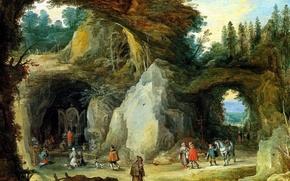 Обои картина, Горный Пейзаж с Пилигримами у Капеллы в Гроте, Ян Брейгель старший, жанровая