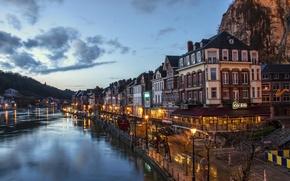 Картинка небо, ночь, огни, дома, канал, Бельгия, Dinant