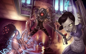 Картинка bioshock 2, Little Sister, art, Patrick Brown, 2K Games, fan, Big Daddy, Rapture, Big Sister