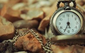 Картинка осень, листья, часы