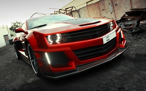 Обои car, авто, карбон, supercar, sportcar, красная, вид спереди, carbon, Chevrolet Camaro, chrome, Chevy Camaro