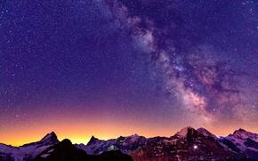 Картинка Швейцария, Альпы, свет, горы, ночь, млечный путь, небо, звезды