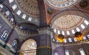 Картинка узор, арка, архитектура, купол, религия, Стамбул, колонна, новая мечеть
