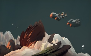 Картинка sky, art, birds, model, cinema4d, c4d, 2013, lowpoly, landskape
