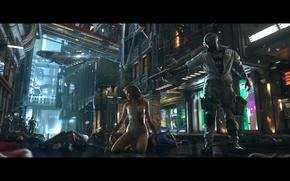Картинка девушка, город, будущее, улица, полиция, киберпанк, android, police, cyberpunk, SWAT, cyborg